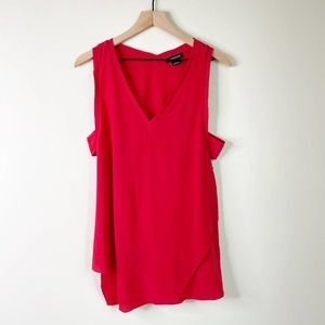 TROUVE Red Silk Assymetrical Cut Out Tank Large